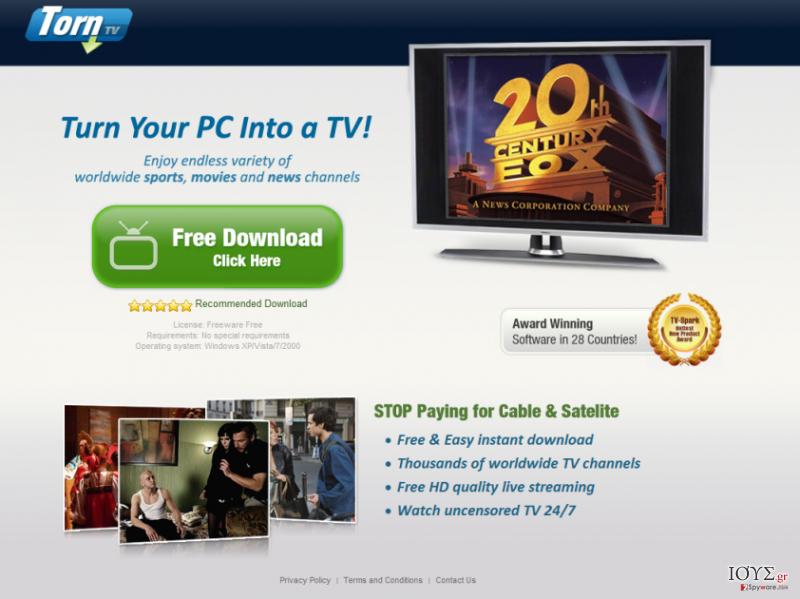 Στιγμιότυπο του TornTV malware