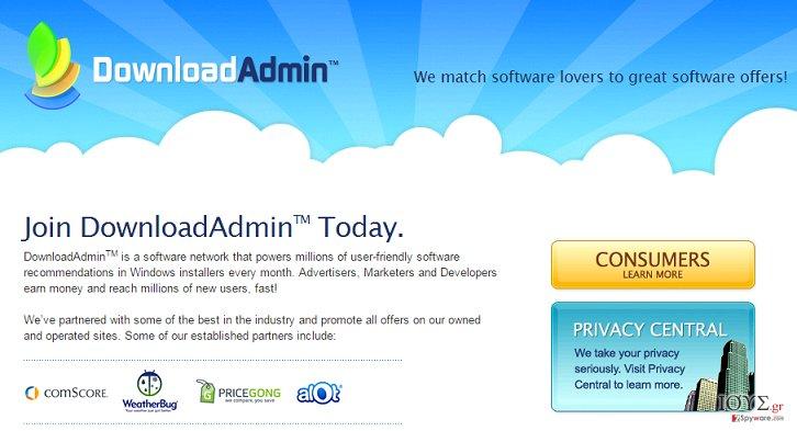 Στιγμιότυπο του UpdateAdmin adware (ανεπιθύμητο λογισμικό εμφάνισης διαφημίσεων)