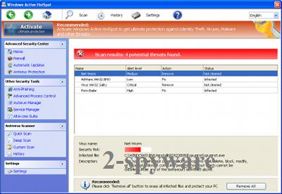 Στιγμιότυπο του Windows Active HotSpot