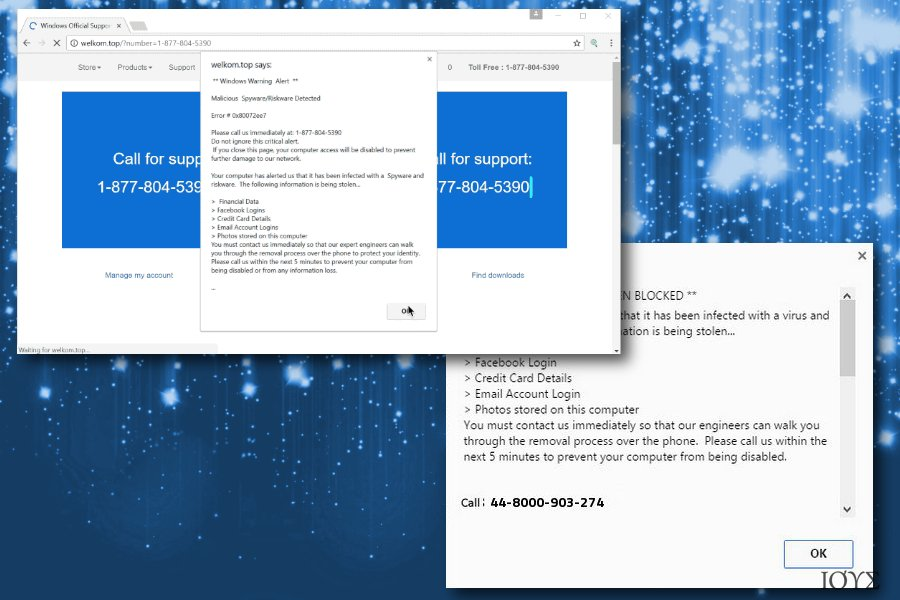 Απεικόνιση του Windows Warning Alert scam