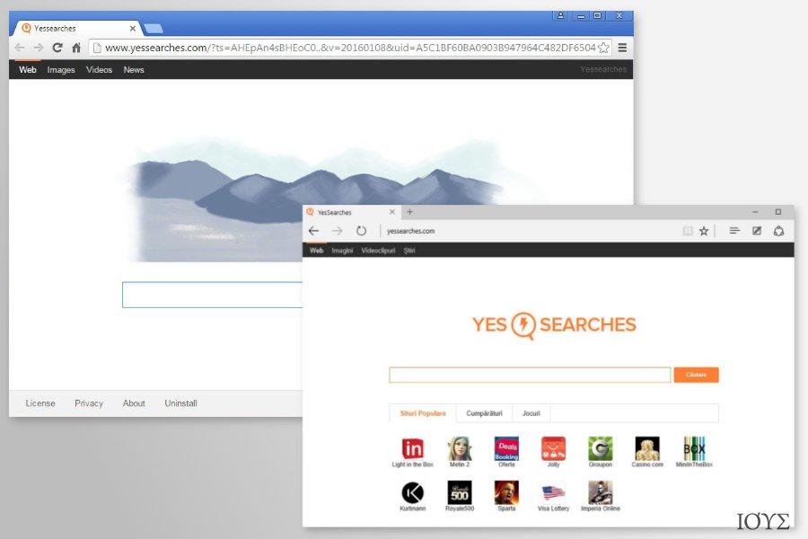 Στιγμιότυπο του Ανακατευθύνσεις YesSearches.com