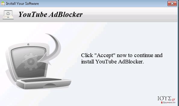 Στιγμιότυπο του YoutubeAdBlocker adware