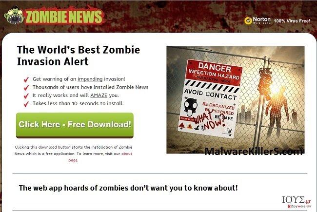 Στιγμιότυπο του Zombie News adware