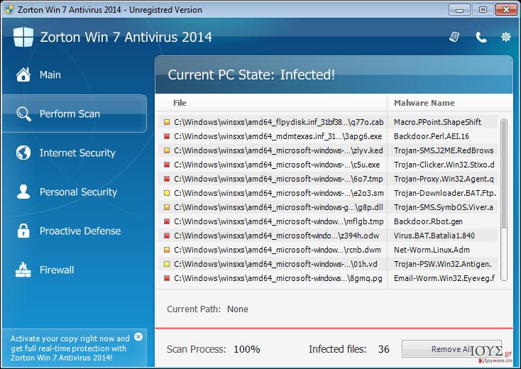Στιγμιότυπο του Zorton Win 7 Antivirus 2014