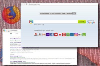 Στιγμιότυπο οθόνης του Mysearch browser hijacker
