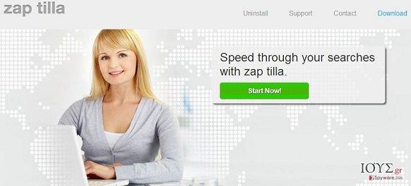 Στιγμιότυπο του Zap Tilla adware